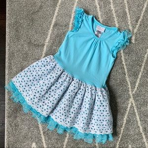 Iris and Ivy Teal Dress w/ Eyelet Skirt 4T